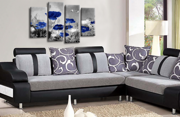 CHINESE FLORAL FLOWER SPLIT MULTI 4 PANEL BLUE GREY PICTURE